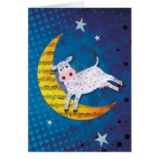 Folk Art Cow Jumped Over the Moon Nursery Rhyme Card