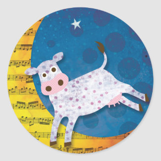 Folk Art Cow Jumped Over the Moon Nursery Rhyme Classic Round Sticker