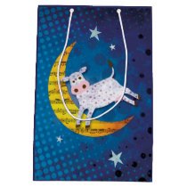 Folk Art Cow Jumped Over the Moon Nursery Rhyme Medium Gift Bag