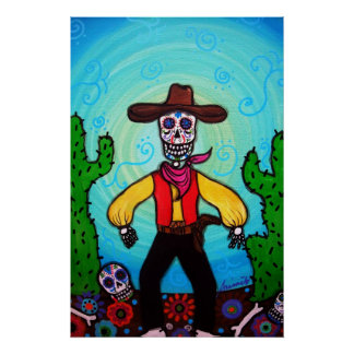 FOLK ART COWBOY DAY OF THE DEAD PAINTING POSTER