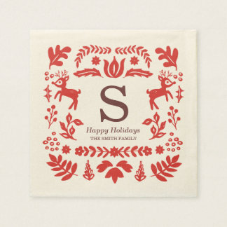 Folk Art Custom Holiday Monogram Napkins