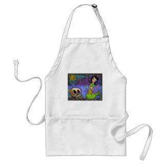 Folk Art Day Of The Dead By Lori Everett Adult Apron