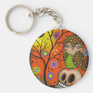 Folk Art Day Of The Dead By Lori Everett Basic Round Button Keychain