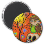 Folk Art Day Of The Dead By Lori Everett 2 Inch Round Magnet