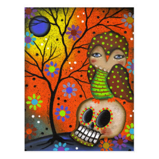 Folk Art Day Of The Dead By Lori Everett Postcard