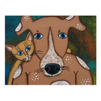 FOLK ART Dogs Best Friend BY LORI EVERETT postcard