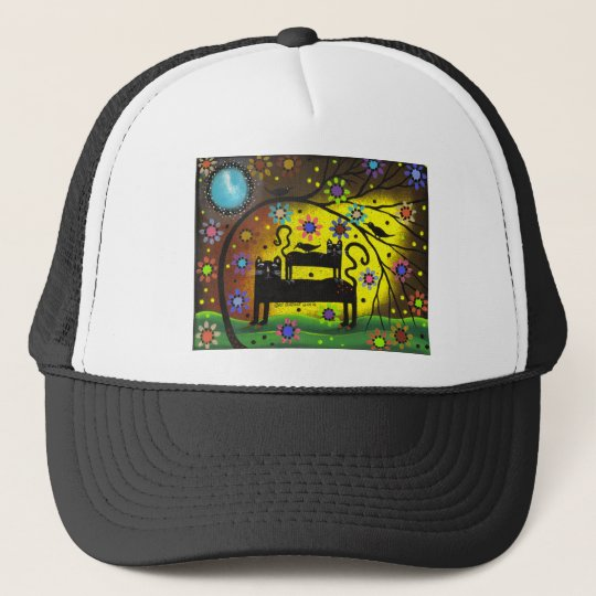 Folk Art Double Trouble By Lori Everett Trucker Hat