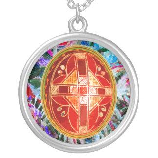 Folk Art Easter Egg Round Pendant Necklace