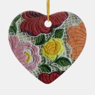 Folk Art Embroidery Flowers Ceramic Ornament
