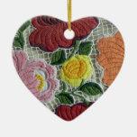Folk Art Embroidery Flowers Christmas Ornaments