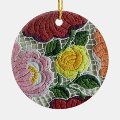 Folk Art Embroidery Flowers Christmas Tree Ornaments