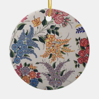 Folk Art Embroidery Flowers Double-Sided Ceramic Round Christmas Ornament