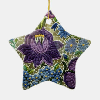 Folk Art Embroidery Flowers Double-Sided Star Ceramic Christmas Ornament