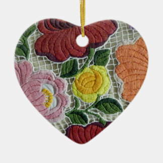 Folk Art Embroidery Flowers Double-Sided Heart Ceramic Christmas Ornament