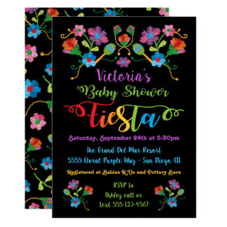 Folk Art Embroidery Mexican Fiesta Baby Shower Invitation