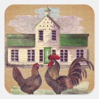 Folk Art Farmyard Chickens Rustic Design Square Sticker