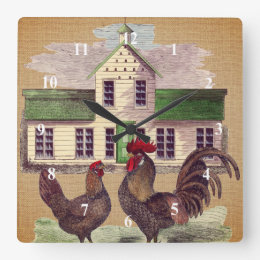 Folk Art Farmyard Chickens Rustic Design Square Wall Clock