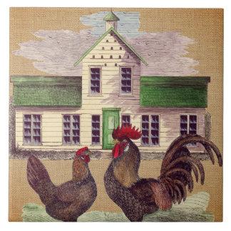Folk Art Farmyard Chickens Rustic Design Tile