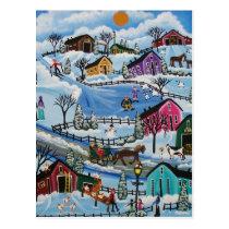 FOLK ART First Day Of Snow LORI EVERETT postcard