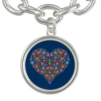 Folk Art Floral Heart Blue Charm Bracelet