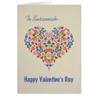 Folk Art Floral Heart Custom Valentine's Card
