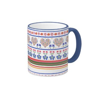 Folk Art Floral Hearts Border Ringer Coffee Mug