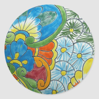 Folk Art Flower Tile Classic Round Sticker
