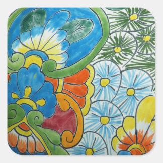 Folk Art Flower Tile Square Sticker