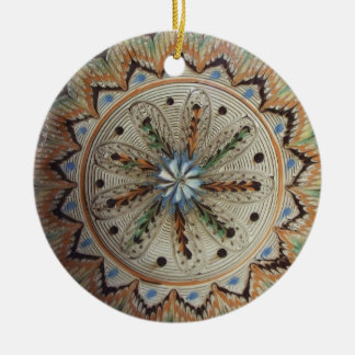 Folk Art Flowers Double-Sided Ceramic Round Christmas Ornament