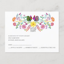 Folk Art Flowers Rooster RSVP Invitation Postcard