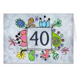 Folk Art Frame 40 40th Birthday Greeting Card