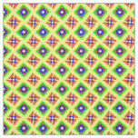 Folk Art Funky Flowers and Diamonds Pattern Fabric