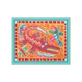 Folk Art Gator Canvas Print