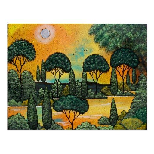 FOLK ART Gentle Morning BY LORI EVERETT postcard