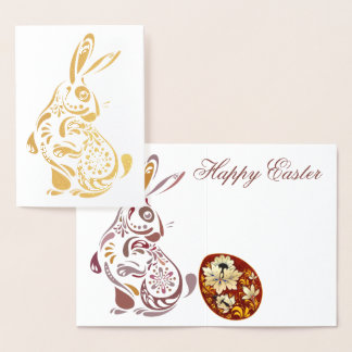 Folk Art Gold Foil Easter Bunny & Ukrainian Egg Foil Card