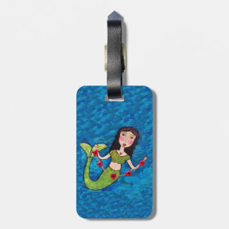 Folk Art Green Mermaid String of Red Hearts Luggage Tag