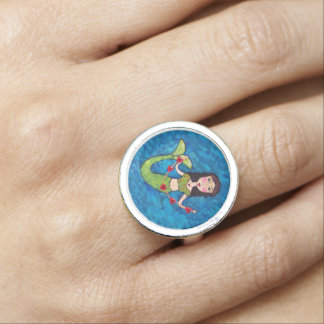 Folk Art Green Mermaid String of Red Hearts Photo Ring