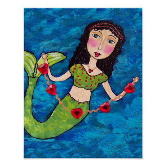 Folk Art Green Mermaid String of Red Hearts Poster