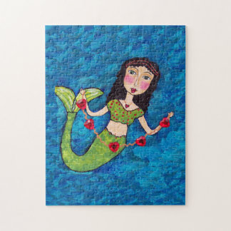 Folk Art Green Mermaid String of Red Hearts Jigsaw Puzzles
