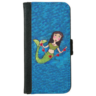 Folk Art Green Mermaid String of Red Hearts Wallet Phone Case For iPhone 6/6s