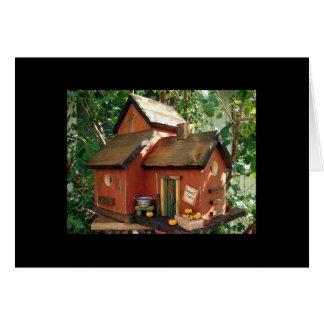 "Folk Art Harvest Days Birdhouse ""tweet tweet"" Card"