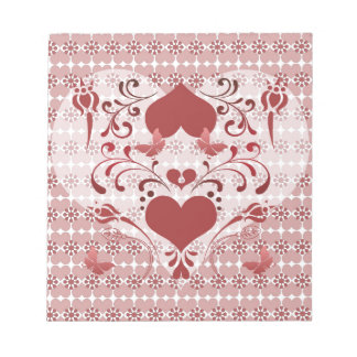 Folk Art Heart and Swirls Notepad