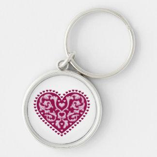 Folk Art Heart Keychain