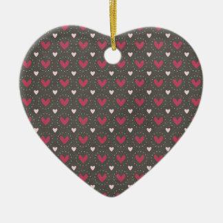 Folk Art Heart Pattern Double-Sided Heart Ceramic Christmas Ornament