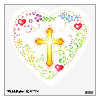 Folk Art Heart with Cross Wall Decal