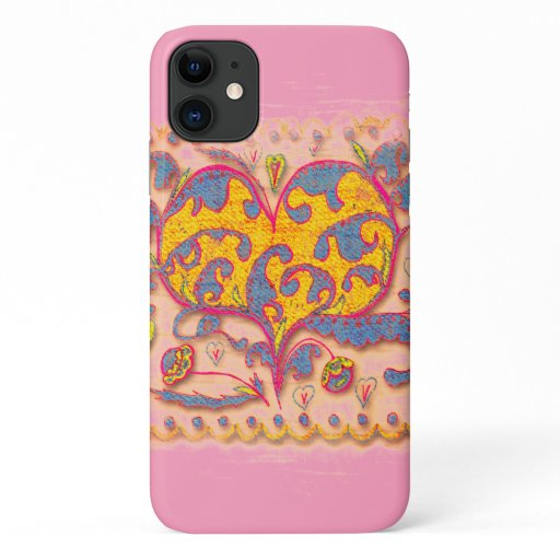 Folk Art Heart with leaves and flowers iPhone 11 Case