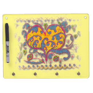 Folk Art Heart with leaves and flowers Dry Erase Board With Keychain Holder