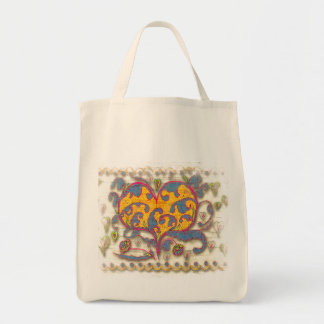 Folk Art Heart with leaves and flowers Tote Bag