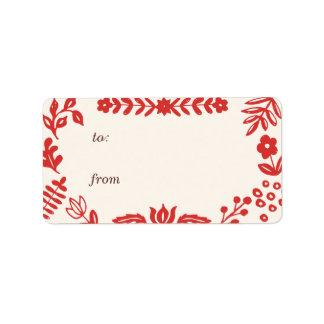 Folk Art Holiday Gift Tag Labels