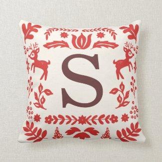 Folk Art Holiday Monogram Pillow
